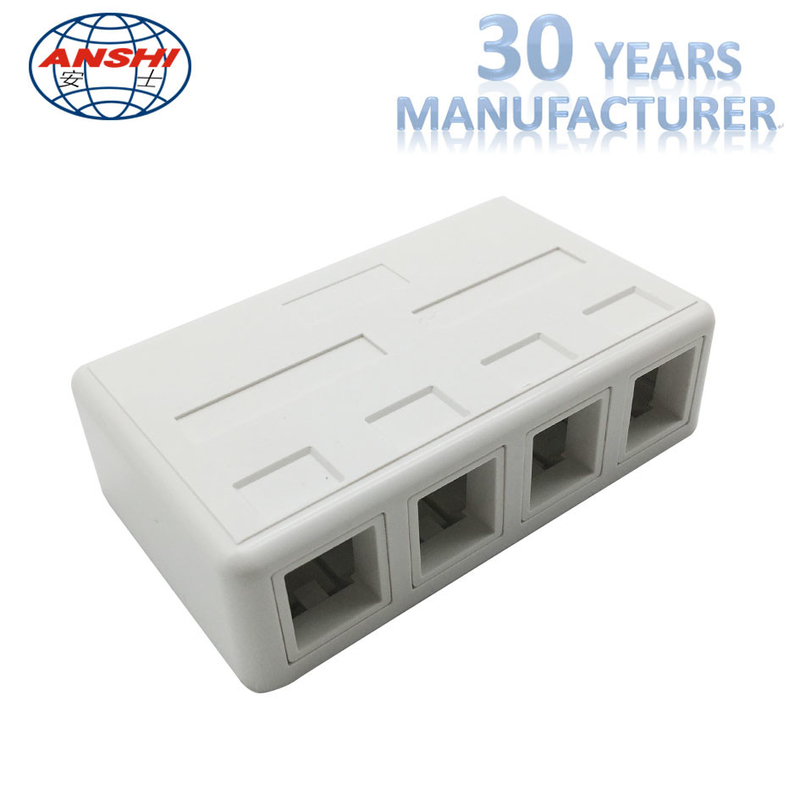 4 Port RJ45 CAT5E CAT6 UTP Keystone Jack Surface Mount Box For Networking